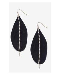 Express - Black Feather Rhinestone Dangle Earrings - Lyst