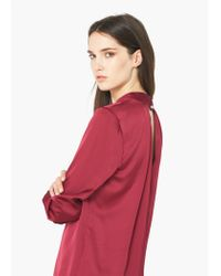 Mango - Red Keyhole Detail Blouse - Lyst