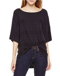 Two By Vince Camuto - Black Grid-patterned Raglan Tee - Lyst