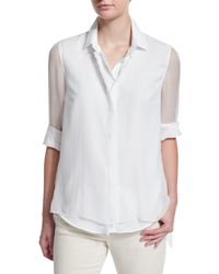 Brunello Cucinelli - White Long-sleeve Button-front Blouse - Lyst