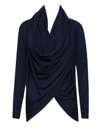 Alice + Olivia | Blue Drape Wrap Around Sweater | Lyst