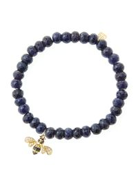 Sydney Evan | Blue 6Mm Faceted Sapphire Beaded Bracelet With 14K Gold/Diamond Bee Charm (Made To Order) | Lyst
