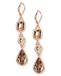 Givenchy - Pink Rose Gold-Tone Crystal Triple Drop Earrings - Lyst