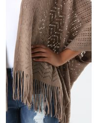Bebe | Brown Pattern Knit Fringe Ruana | Lyst
