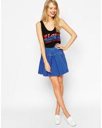 Love Moschino - Blue Denim Skirt In A Line Shape - Lyst