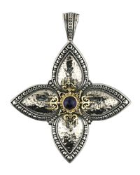 Konstantino | Metallic Hammered Sterling Silver & Iolite Cross Pendant Enhancer | Lyst