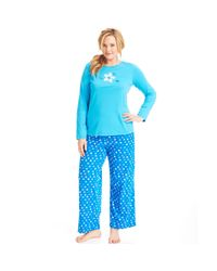 Hue - Blue Knit Top and Pajama Pants Set - Lyst
