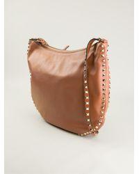 Valentino - Brown Rockstud Hobo Shoulder Bag - Lyst