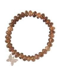Sydney Evan - Brown 8Mm Faceted Smoky Quartz Beaded Bracelet With 14K Gold/Diamond Small Butterfly Charm (Made To Order) - Lyst