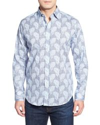 Bugatchi | Blue Shaped Fit Paisley Sport Shirt for Men | Lyst