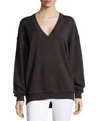 Jason Wu - Brown V-neck Merino Wool Sweatshirt - Lyst