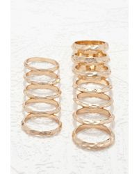 Forever 21 - Metallic Hammered Ring Set - Lyst