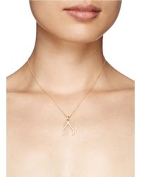 Khai Khai | Metallic 'wishbone' Diamond Pendant Necklace | Lyst