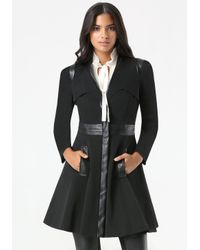Bebe - Black Ita Fit & Flare Trench Coat - Lyst