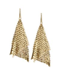 Steve Madden - Metallic Goldtone Mesh Drop Earrings - Lyst