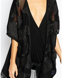 Y.A.S - Black Fringe Kimono - Lyst