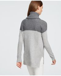 Ann Taylor | Metallic Cashmere Colorblock Sweater | Lyst