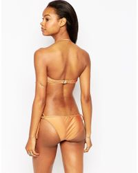South Beach - Brown Macrame Bandeau Bikini Top - Lyst