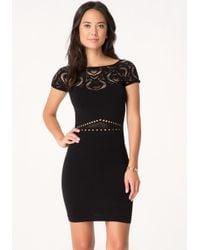 Bebe | Black Sia Cage Skirt Dress | Lyst