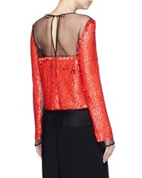 Emilio Pucci - Red Sequin Embellished Mesh Top - Lyst