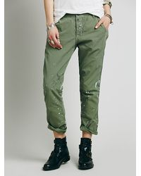 Free People | Green Edith Washed Trouser | Lyst