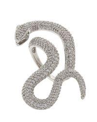 Pori | Metallic 18k White Gold Plated Sterling Silver Snake Cz Ring | Lyst
