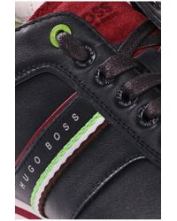 BOSS Green Black Leather-mix Trainers 'victoire Fiction' for men