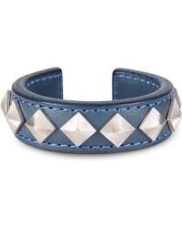 Blackmeans - Blue Pyramid Stud Leather Bangle - For Men for Men - Lyst