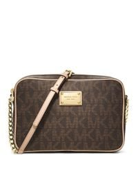 MICHAEL Michael Kors | Brown Jet Set Large Logo Crossbody | Lyst