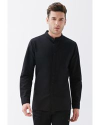 Forever 21 - Black Mandarin Collar Button-down Shirt for Men - Lyst