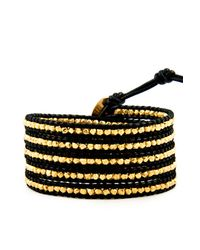 Chan Luu | Gold Wrap Bracelet On Black Leather | Lyst