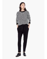 Mango - Black Textured Baggy Trousers - Lyst