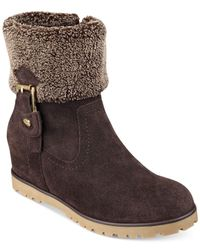 Tommy Hilfiger | Brown Soffia Faux Fur Booties | Lyst