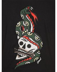 DIESEL - Black Skull Snake Patch Cotton Jersey T-shirt for Men - Lyst