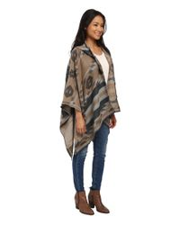 BCBGeneration | Gray Winter Tribal Hooded Wrap | Lyst