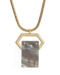 Rachel Zoe | Metallic Jewel Rivet Pendant Necklace | Lyst