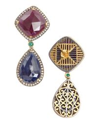 Amrapali | Multicolor Diamond, Ruby And Emerald Drop Earrings | Lyst