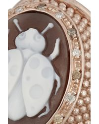 Amedeo | Pink Rose Goldplated Sardonyx Shell and Diamond Ladybug Cameo Ring | Lyst