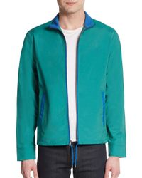 Original Penguin | Green Two-tone Slub Cotton & Nylon Track Jacket for Men | Lyst