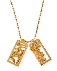 Alexander McQueen - Metallic Framed Poppy Pendant Necklace - Lyst