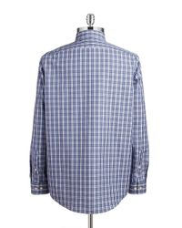 Michael Kors | Blue Plaid Sportshirt for Men | Lyst
