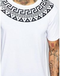 ASOS - White T-shirt With Yoke Print In Relaxed Fit for Men - Lyst