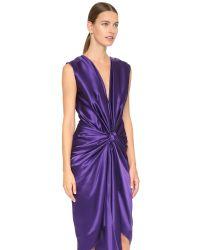 Monique Lhuillier - Purple V Neck Draped Dress - Deep Violet - Lyst