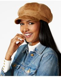 Nine West - Natural Faux Suede Newsgirl Hat - Lyst