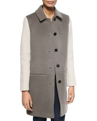 Dawn Levy - Brown Billy Shirt-collar Colorblock Coat - Lyst
