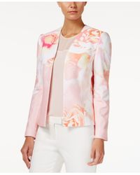 Tahari | Pink Floral-print Open-front Jacket | Lyst