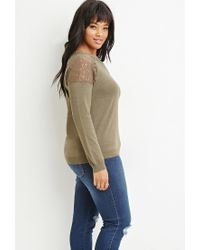 Forever 21 - Green Lace-paneled Sweater - Lyst