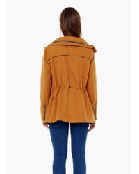 Mango - Orange Detachable Hood Parka - Lyst