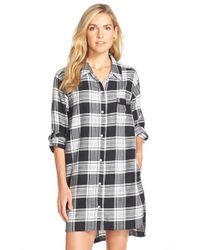 DKNY | Black Plus Plaid Long-sleeve Boyfriend Sleepshirt | Lyst