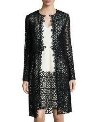 Lela Rose | Black Long-sleeve Scroll Guipure Lace Jacket | Lyst